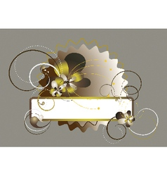 Oval frame with wavy edges decorated with flowers vector