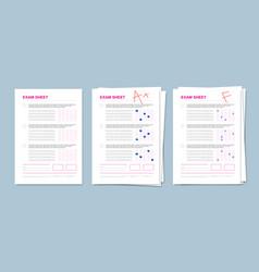 Realistic exam sheet set vector