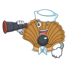 Sailor with binocular shell with pearl mascot vector