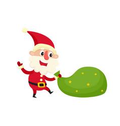 santa claus with bag cartoon vector image