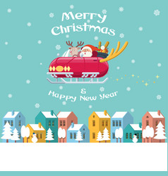 Santa flying sleigh car over winter town vector