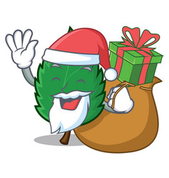 Santa with gift mint leaves mascot cartoon vector