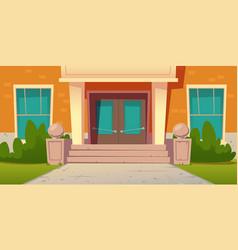 school entrance building college campus facade vector image