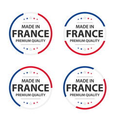set four french icons made in france vector image