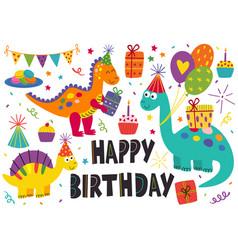 set isolated cute dinosaurs happy birthday vector image