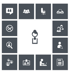 set of 13 editable office icons includes symbols vector image