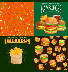 set of burger grilled beef and fresh vegetables vector image