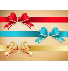 Set of gift bows with ribbons EPS 10 vector image