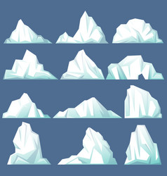 Set of isolated iceberg or drifting arctic glacier vector