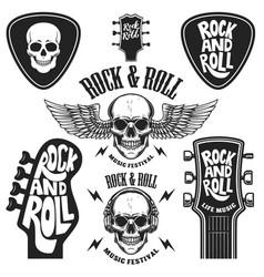 set rock and roll emblems design element vector image