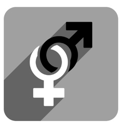 Sexual Symbols Flat Square Icon with Long Shadow vector image