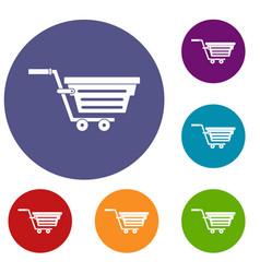 Shopping basket on wheels icons set vector