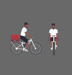 smiling delivery man riding bicycle male cyclist vector image