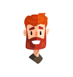 Smiling redhead bearded man male emotional face vector