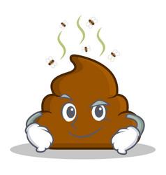 Smirking poop emoticon character cartoon vector