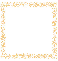 square background with frame of orange leaves vector image