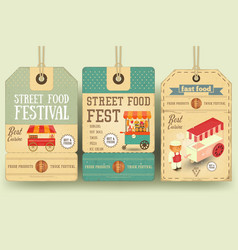 street food festival price tags vector image