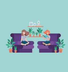 Student girls sitting reading book in livingroom vector