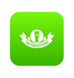 Tattoo studio icon green vector