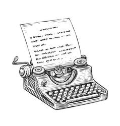 vintage typewriter with sheet paper hand drawn vector image