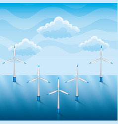 wind turbines on a sea renewable energy vector image