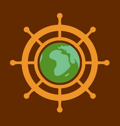 Yacht helm wheel image with globe in middle vector