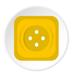 Yellow square sewing button icon circle vector