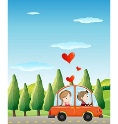 A couple riding on a car vector image