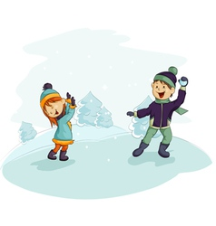 A snowball fight vector