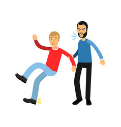 aggressive bearded man grabbed young guy by hand vector image