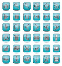 blue web icons set vector image vector image