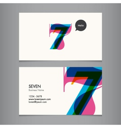 business card with number 7 vector image