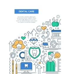 Dental Care - line design brochure poster template vector image vector image