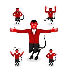 Devil set of poses Satan set of movements Horned vector image