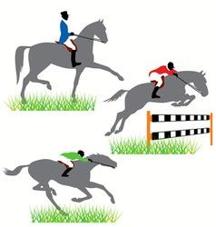 horses and jockeys vector image vector image