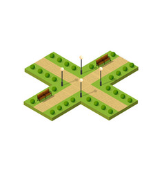 isometric metropolis city park with streets and vector image vector image