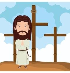 Jesus christ mount calvary design vector image