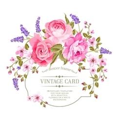 Pink peony vintage label vector image vector image