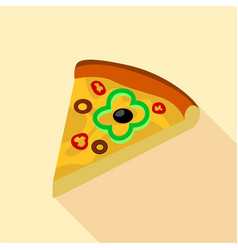 Pizza with green pepper and olives icon flat style vector