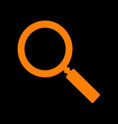 zoom sign orange icon on black vector image