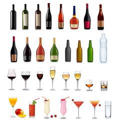bottles and glasses set vector image