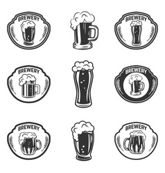 set of emblems with beer mugs vector image vector image