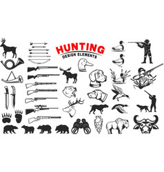 set of hunting design elements hunting dogs vector image