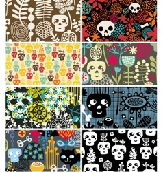 Skulls and flowers cards vector image vector image