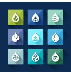 Water drop icons in flat design style vector image vector image