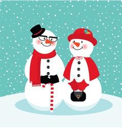 Couple of snowmen vector image vector image