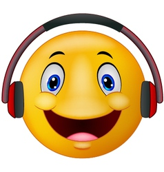 Emoticon with headphones vector image