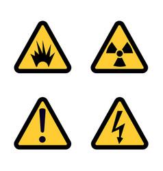 hazard warning sign icon set on white background vector image