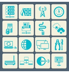 Network icons set flat button vector image vector image