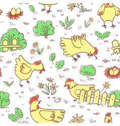 Seamless pattern with doodle cute chickens vector image vector image